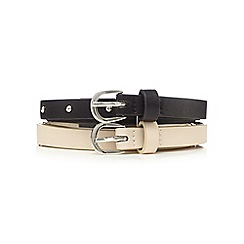 The Collection - Pack of two black and cream belts