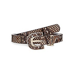 The Collection - Brown snakeskin-effect buckled belt