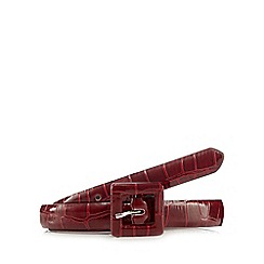 The Collection - Red crocodile print skinny belt
