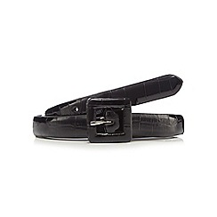 The Collection - Black crocodile print skinny belt
