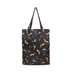 The Collection - Black dog print fold away shopper bag