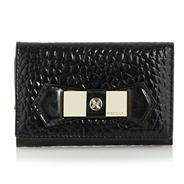 Black folded textured leather purse