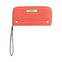 Floozie by Frost French - Coral heart stud zip around purse