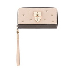 Floozie by Frost French - Light pink and dark grey heart padlock charm wristlet
