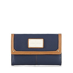J by Jasper Conran - Tan and navy colour block logo plate purse