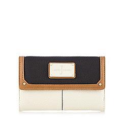 J by Jasper Conran - Black and cream colour block logo plate purse