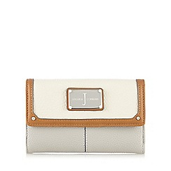 J by Jasper Conran - Cream and grey colour block logo plate purse