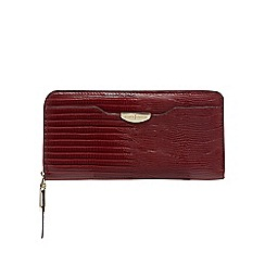 J by Jasper Conran - Dark red reptile print zip around wallet
