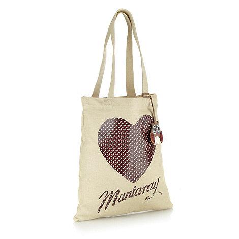 Mantaray - Cream heart printed canvas shopper bag