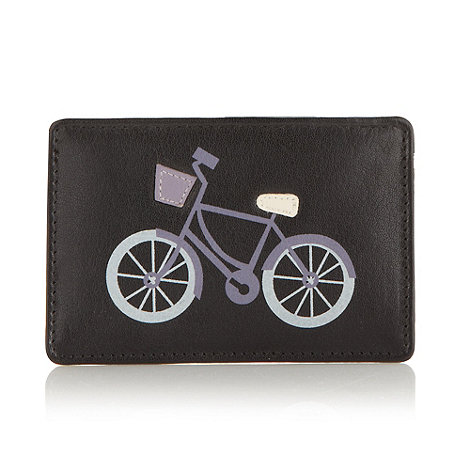 Bailey & Quinn - Black leather printed and appliqued bicycle card holder