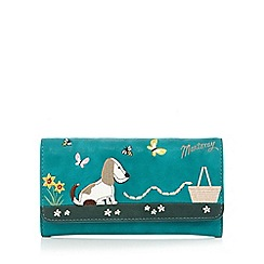 Mantaray - Turquoise dog and sausages applique flapover purse