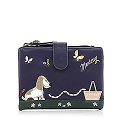 Mantaray - Navy dog and sausages applique flapover purse