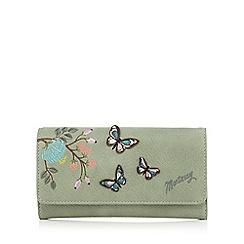 Mantaray - Light green butterfly applique flapover purse