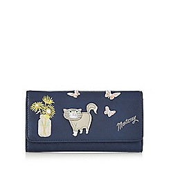 Mantaray - Navy cat and sunflower applique large purse