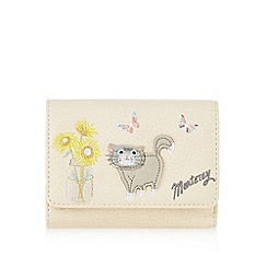 Mantaray - Cream cat and sunflower applique flapover purse