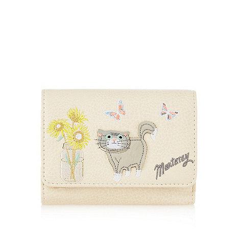 Mantaray - Cream cat and sunflower applique flapover purse