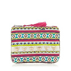Mantaray - Multi-coloured Aztec print embellished purse