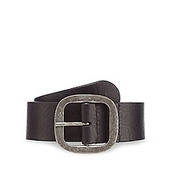 Mantaray - Black leather buckle belt
