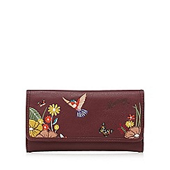 Mantaray - Dark red embroidered hummingbird large flap over purse