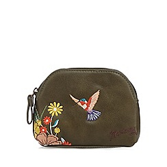 Mantaray - Khaki embroidered hummingbird small coin purse