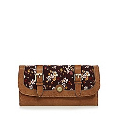 Mantaray - Brown floral corduroy large flap over purse