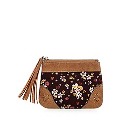 Mantaray - Brown floral corduroy coin purse