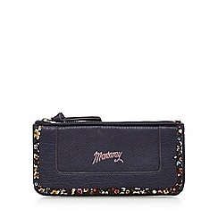 Mantaray - Navy floral bordered zip and flap large purse