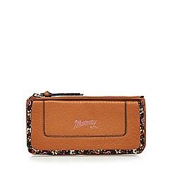 Mantaray - Tan floral bordered zip and flap large purse