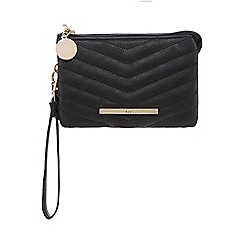 Red Herring - Black diagonal quilted wristlet