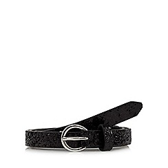 Red Herring - Black glitter skinny pin buckle belt