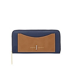 J by Jasper Conran - Navy and brown zip-around wallet