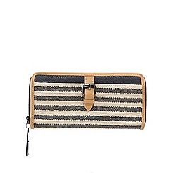 J by Jasper Conran - Navy stripe zip-around wallet