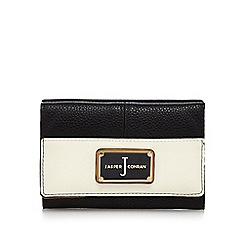 J by Jasper Conran - Black textured flap-over wallet