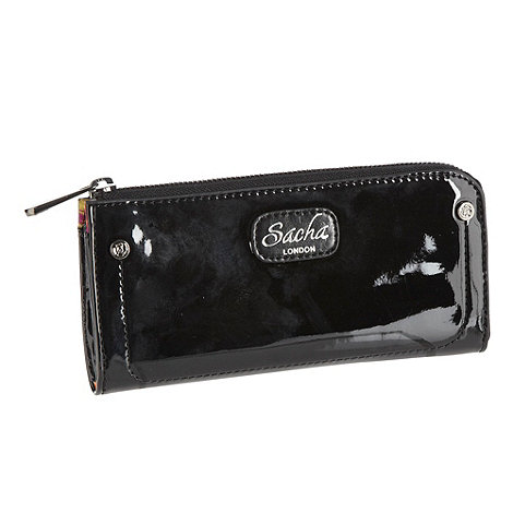 Sacha - Black patent faux leather zip around purse