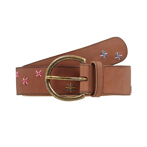 Mantaray - Dark tan leather star embroidered belt