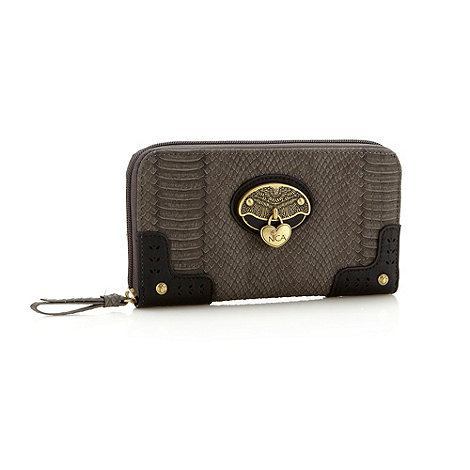 Nica - Grey faux snakeskin zip around purse