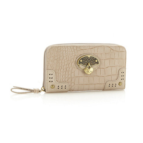 Nica - Off white mock croc zip around purse