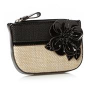 Designer black basket woven floral coin purse