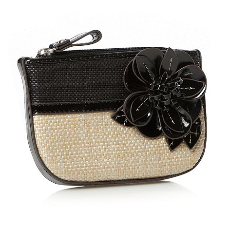 Principles by Ben de Lisi - Designer black basket woven floral coin purse