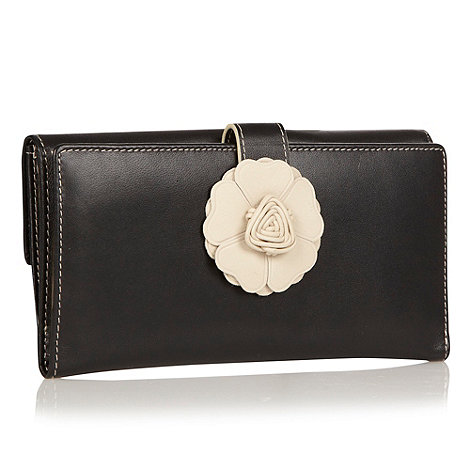 The Collection - Black flower tabbed leather purse