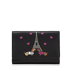 The Collection - Black leather Paris dog  appliqueé  fold over purse