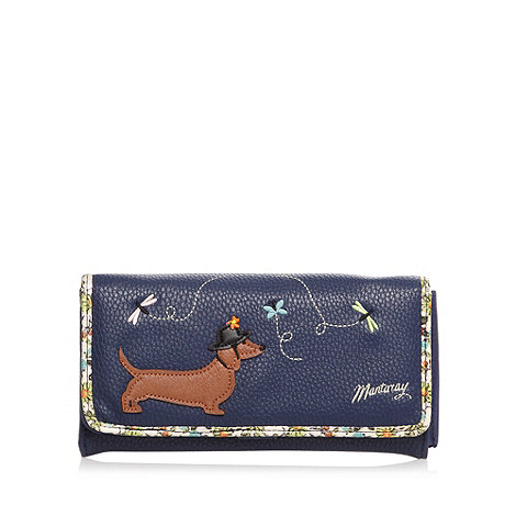 Mantaray - Navy dog design large purse