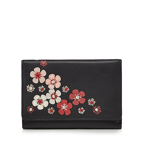 The Collection - Black leather floral appliqu  purse