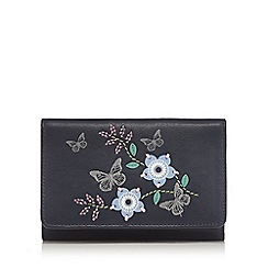 The Collection - Navy leather embroidered flap over purse