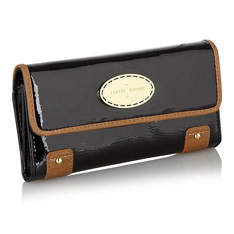 J by Jasper Conran - Designer black patent flapover purse