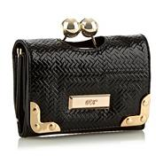Black Weave Patent Purse