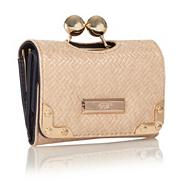 Cream Flapover Clip Purse