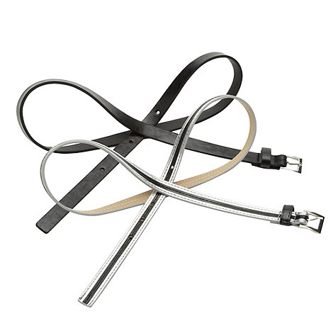 The Collection - Set of two black faux leather skinny belts