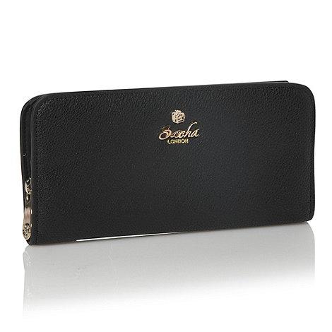 Sacha - Black rose studded zip-around purse