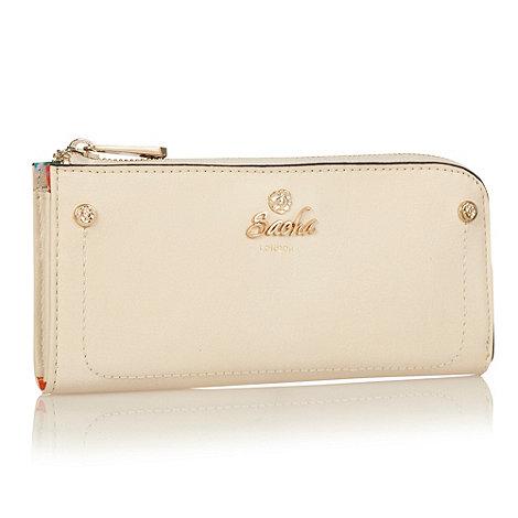 Sacha - Cream logo front zip around purse